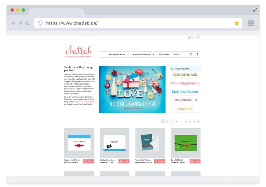 Online-Shop (WooCommerce) chatlab – in Zusammenarbeit mit sightworks