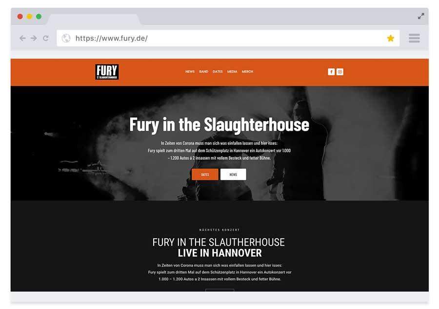 Website für die Band Fury in the Slaughterhouse