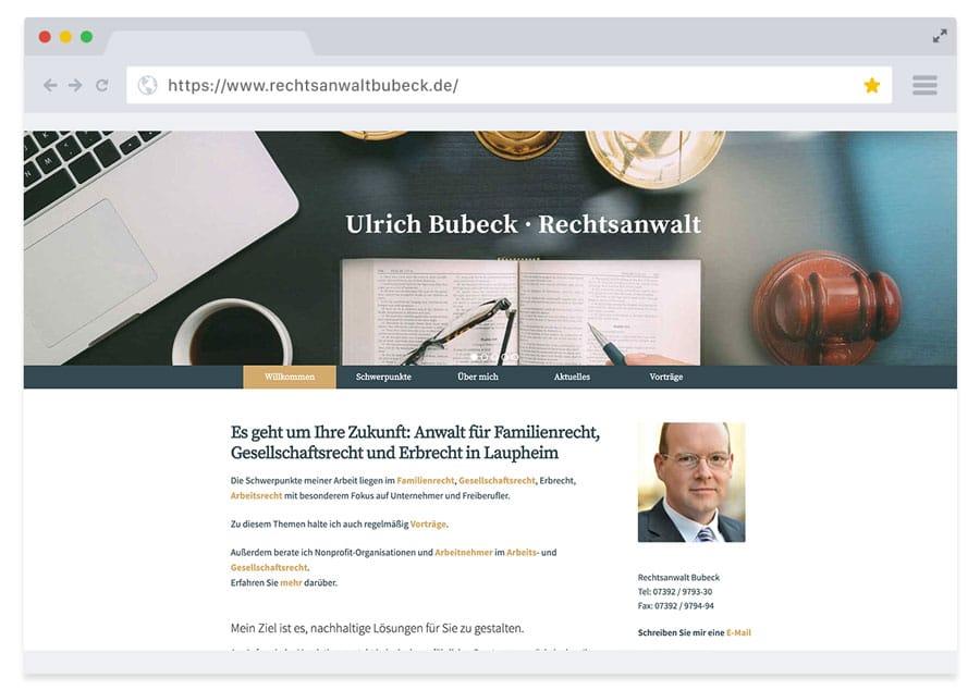 Website Rechtsanwalt Ulrich Bubeck – in Zusammenarbeit mit sightworks