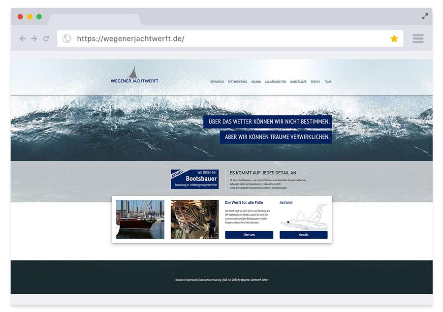 Website Wegener Jachtwerft