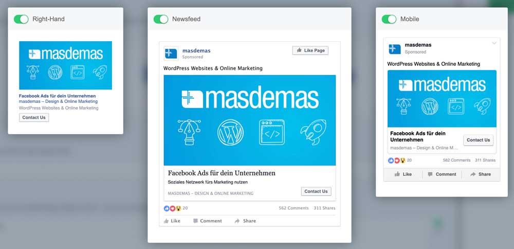 Platzierungen Facebook Ads