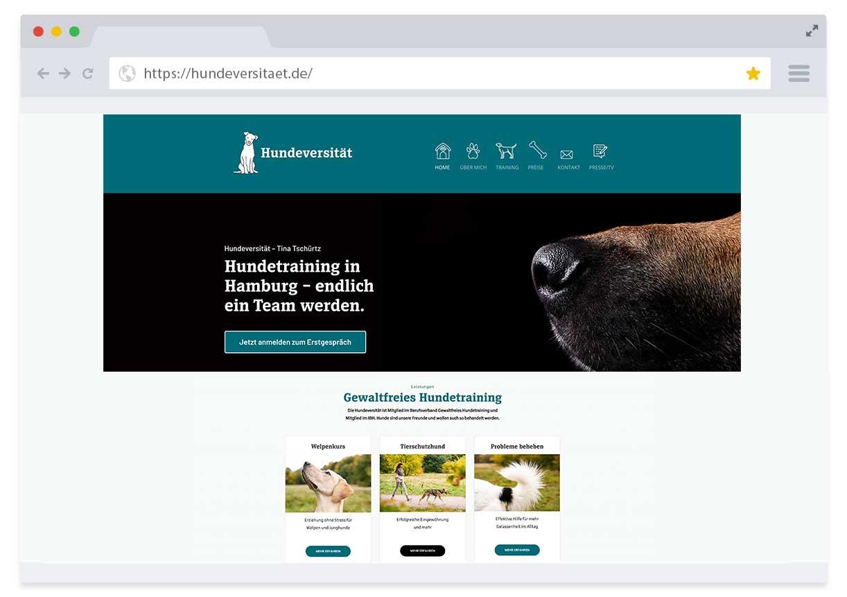 Website Hundeversität Hamburg